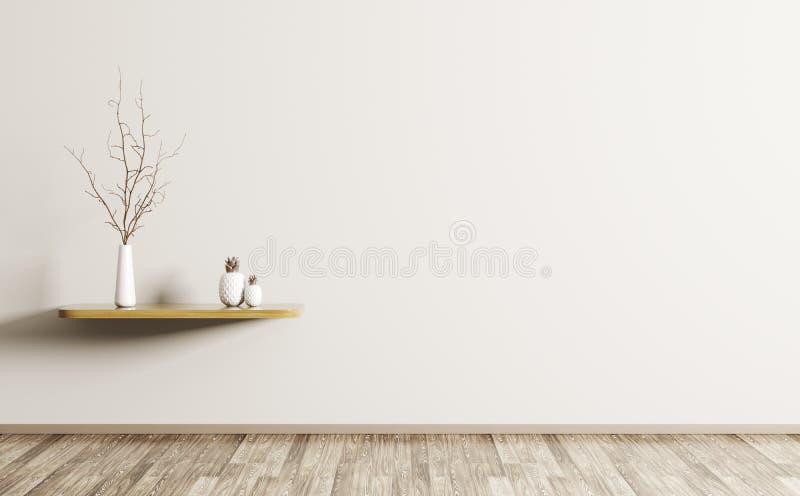 Żywy pokój z szelfowym 3d renderingiem ilustracji