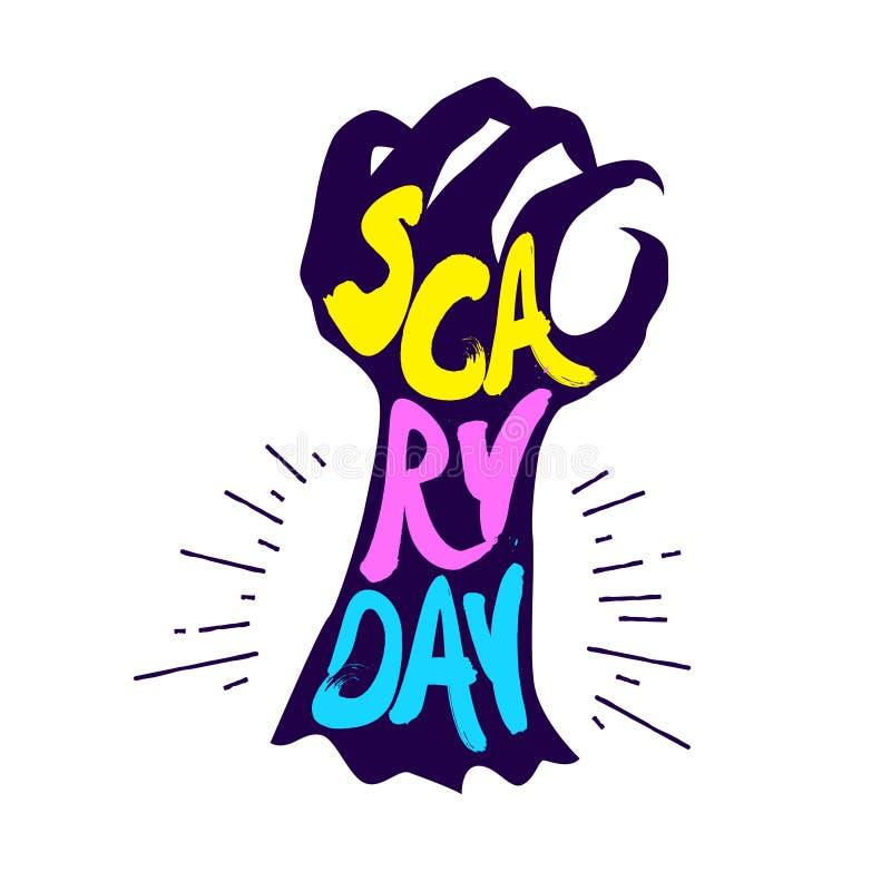 Żywy trup ręka z literowanie teksta Strasznym dniem Wektorowy koloru majcher ilustracja wektor