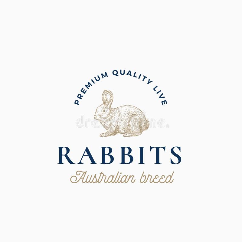 Żywych królików Australijski traken Abstrakcjonistyczny wektoru znak, symbol lub loga szablon, Ręka Rysujący rytownictwo stylu kr ilustracja wektor