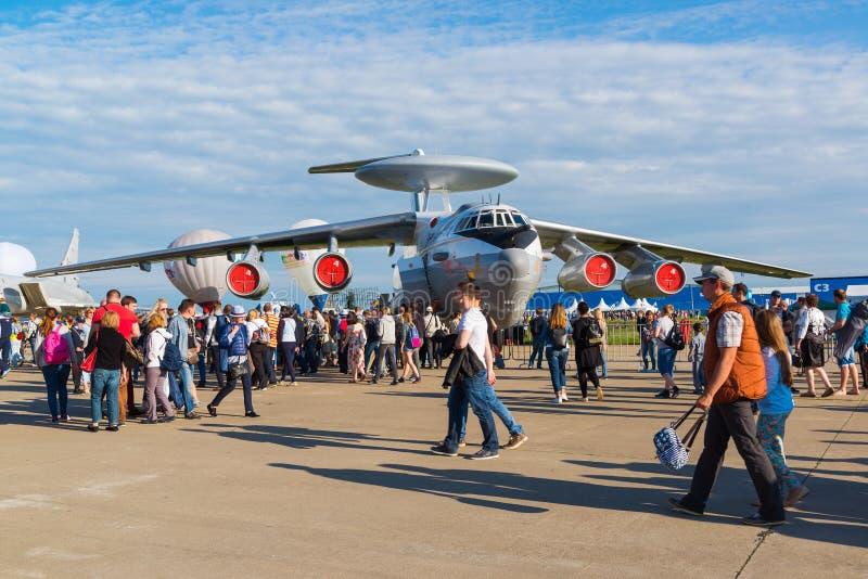 Žukovskij, Russia - 24 luglio 2017 Beriev A-50 è AWACS Soviet costruito di Airborne Warning and Control System ad aviazione inter immagine stock