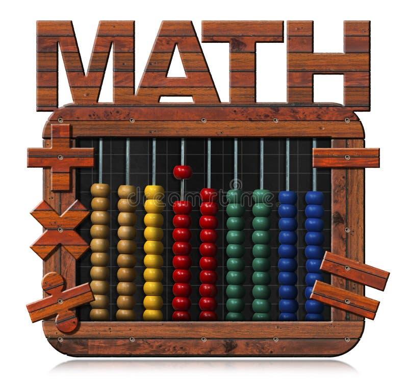 Άβακας σε έναν πίνακα με το κείμενο Math απεικόνιση αποθεμάτων