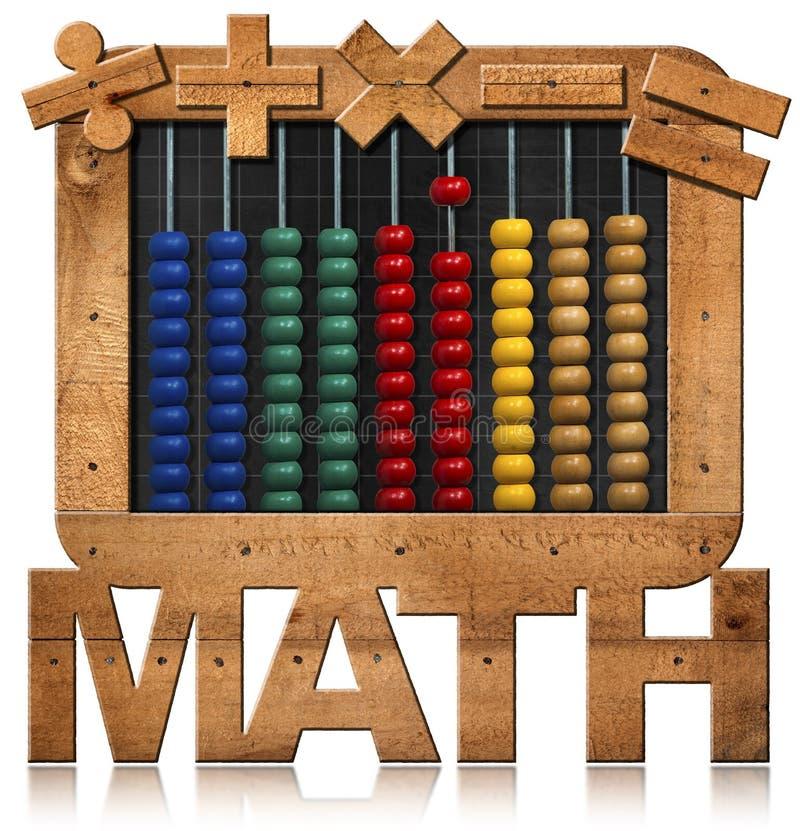 Άβακας σε έναν πίνακα με το κείμενο Math ελεύθερη απεικόνιση δικαιώματος