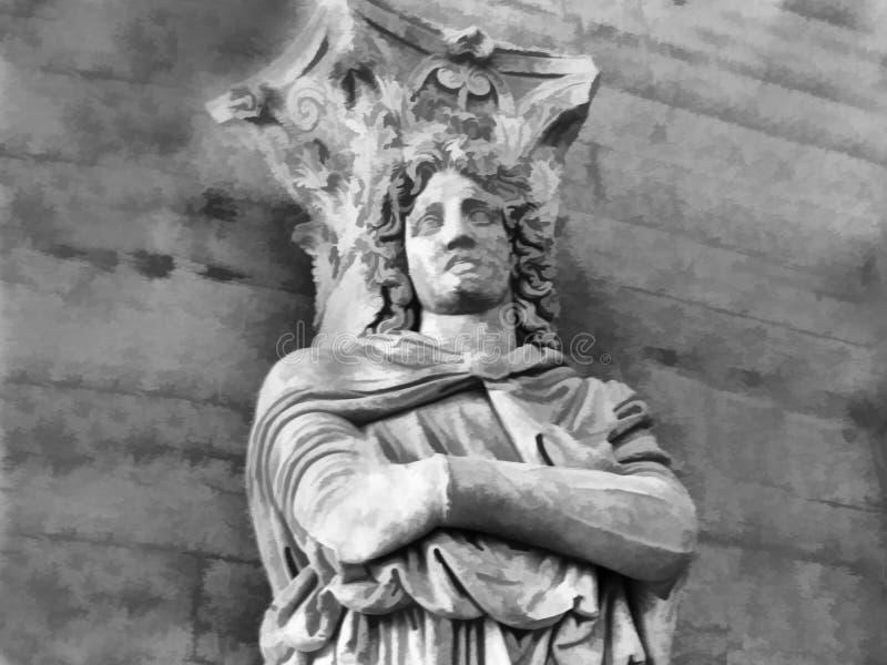 άγαλμα αρχαίου Έλληνα Ψηφιακή τέχνη απεικόνισης διανυσματική απεικόνιση
