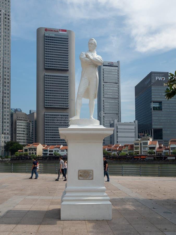 Άγαλμα λοταριών του Thomas Stamford, Σιγκαπούρη στοκ εικόνες
