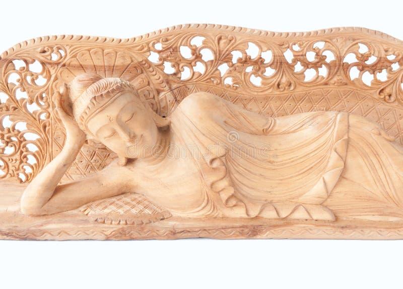 άγαλμα ξαπλώματος του Βούδα ξύλινο στοκ εικόνα με δικαίωμα ελεύθερης χρήσης