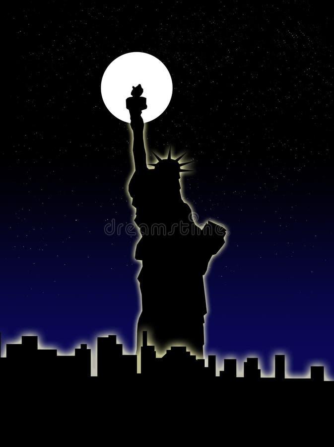 Άγαλμα της ελευθερίας και της πόλης της Νέας Υόρκης ελεύθερη απεικόνιση δικαιώματος