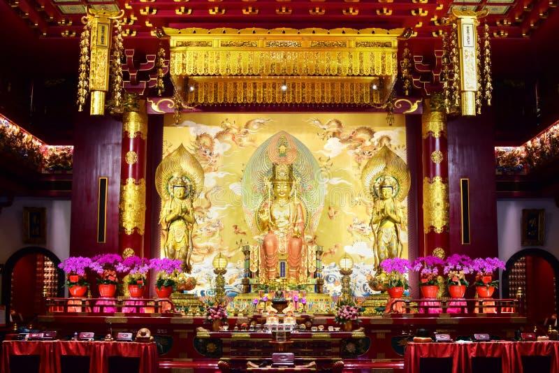 Άγαλμα του Βούδα Maitreya στο ναό λειψάνων δοντιών του Βούδα, Σιγκαπούρη στοκ φωτογραφία με δικαίωμα ελεύθερης χρήσης