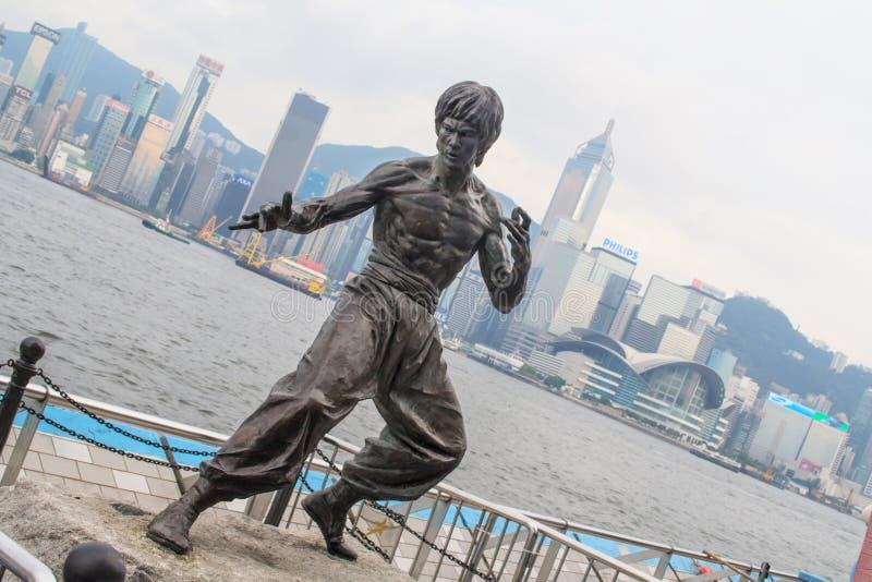 Άγαλμα του Bruce Lee στη λεωφόρο των αστεριών Χογκ Κογκ Κίνα στοκ εικόνα