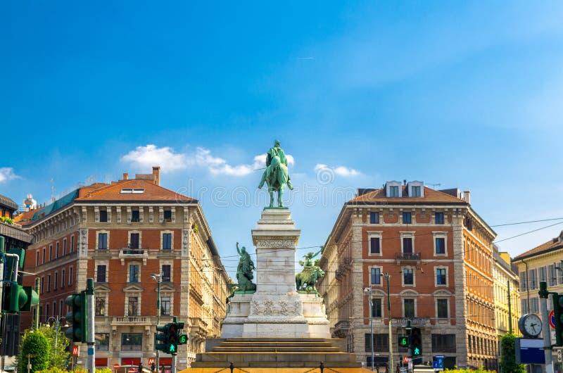 Άγαλμα του Giuseppe Garibaldi μνημείων, Μιλάνο, Λομβαρδία, Ιταλία στοκ εικόνα