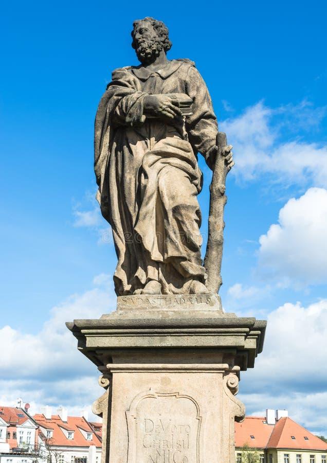 Άγαλμα του Jude ο απόστολος στη γέφυρα του Charles στην Πράγα στοκ φωτογραφίες