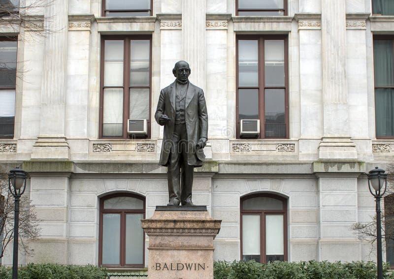 Άγαλμα χαλκού του Matthias William Baldwin, Δημαρχείο, Φιλαδέλφεια, Pennsvlvania στοκ εικόνα