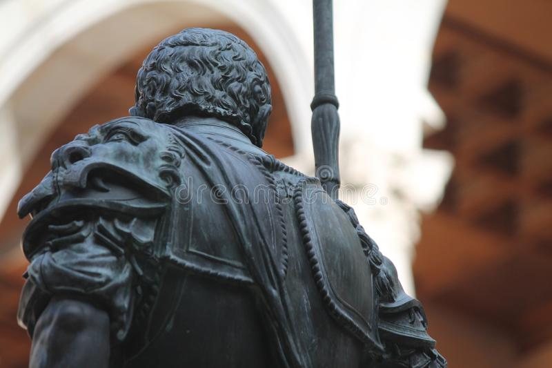 Άγαλμα Conquistador Alcazar, Τολέδο Ισπανία στοκ εικόνες
