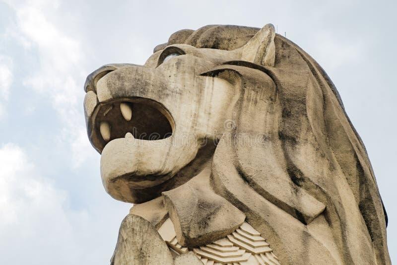 Άγαλμα Merlion στο νησί Sentosa, Σιγκαπούρη στοκ εικόνες