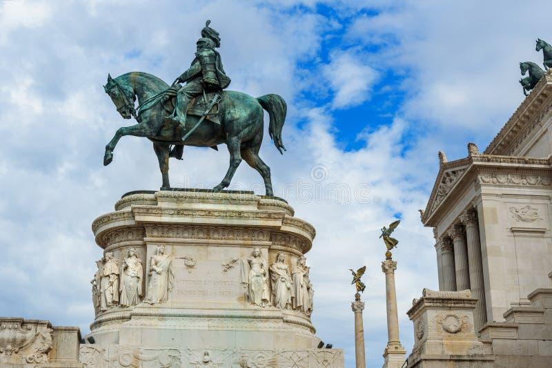 Άγαλμα Vittorio Emanuele ΙΙ σε Vittorio Emanuele ΙΙ μνημείο ή Vittoriano Ρώμη Ιταλία στοκ εικόνες