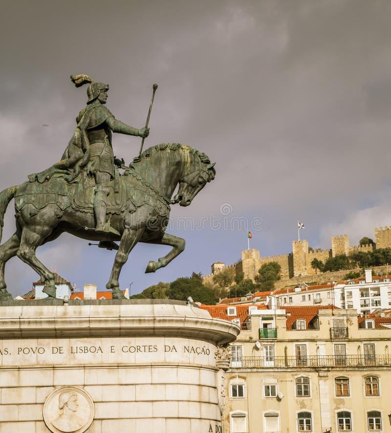 Άγαλμα Λισσαβώνα αλόγων και αναβατών στοκ φωτογραφίες