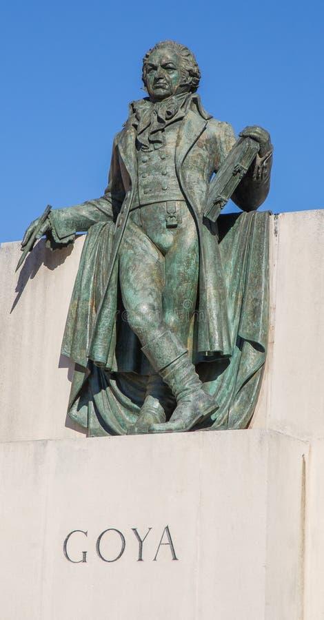 Άγαλμα Σαραγόσα του Francisco de Goya στοκ εικόνες
