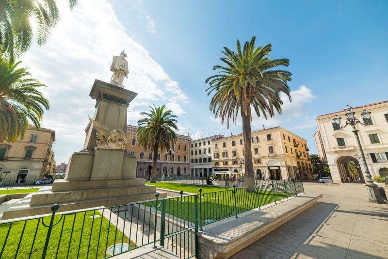 Άγαλμα στην πλατεία d& x27 Ιταλία σε Sassari στοκ φωτογραφία με δικαίωμα ελεύθερης χρήσης