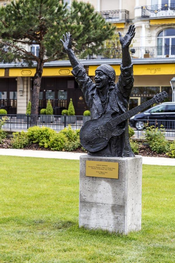 Άγαλμα στο Carlos Santana στο Μοντρέ στοκ εικόνα