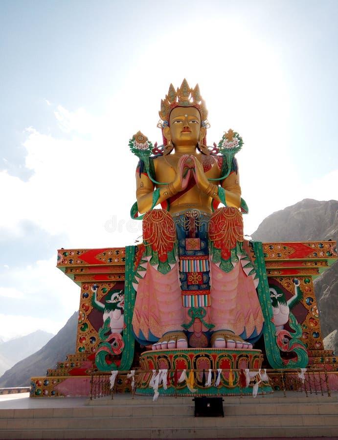 Άγαλμα της εικόνας Maitreya Βούδας στο θιβετιανό ύφος στο μοναστήρι Diskit, κοιλάδα Nubra, βόρεια Ινδία Ladakh στοκ φωτογραφία με δικαίωμα ελεύθερης χρήσης