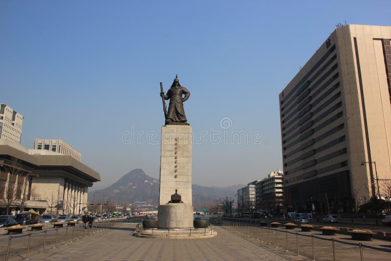 Άγαλμα του ήλιος-αντικνημίου Yi, κορεατικός ναυτικός διοικητής, φημισμένος για vic του στοκ εικόνες με δικαίωμα ελεύθερης χρήσης