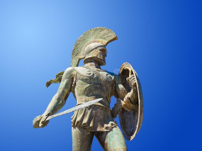Άγαλμα του βασιλιά Λεωνίδας στη Σπάρτη, Ελλάδα στοκ φωτογραφία