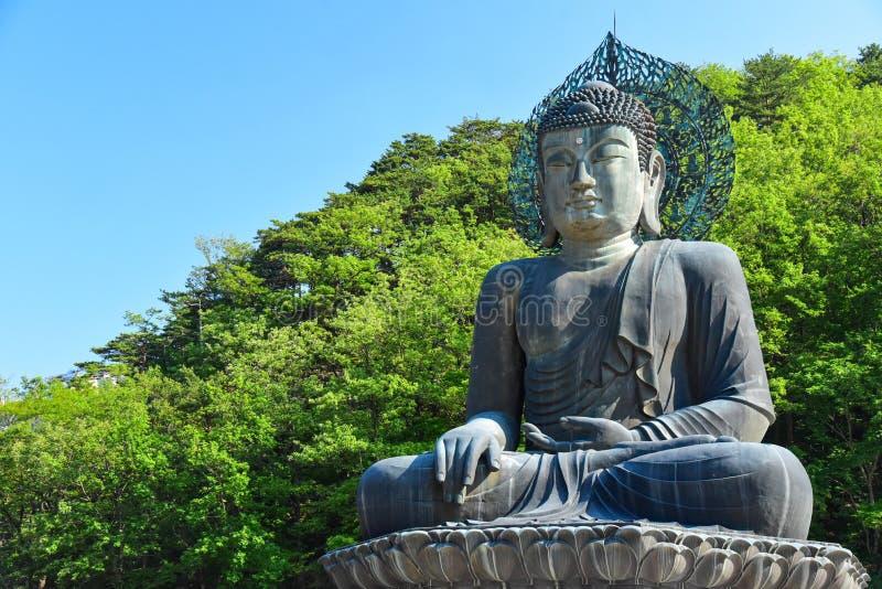 Άγαλμα του Βούδα στο ναό Sinheungsa στο εθνικό πάρκο Seoraksan στοκ φωτογραφία με δικαίωμα ελεύθερης χρήσης