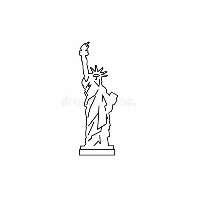 Άγαλμα του εικονιδίου ελευθερίας, ύφος περιλήψεων διανυσματική απεικόνιση