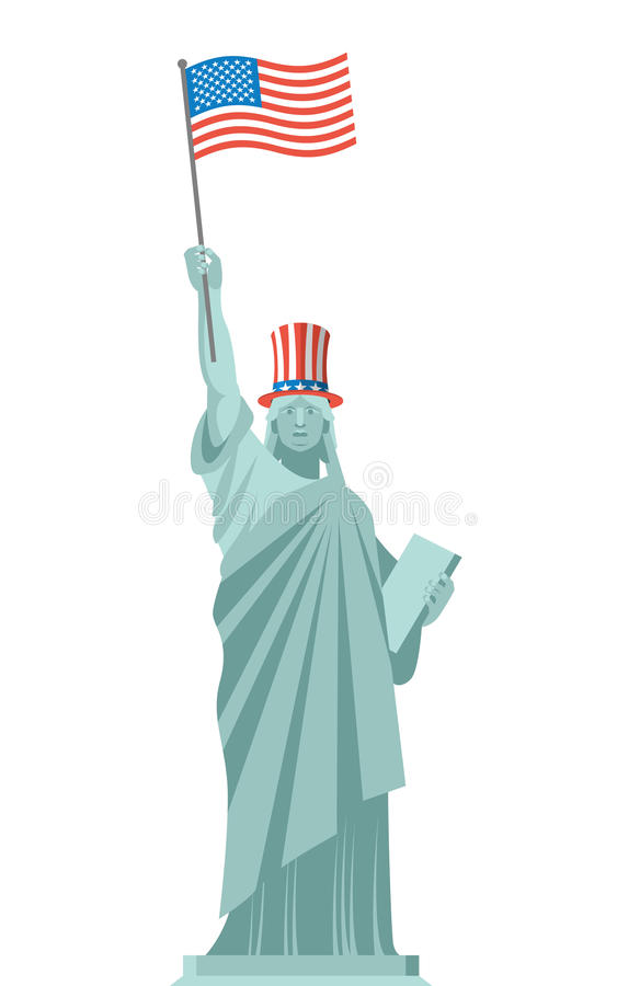 Άγαλμα του θείου Σαμ καπέλων ελευθερίας η ανεξαρτησία ημέρας δηλώνει ενωμένο απεικόνιση αποθεμάτων