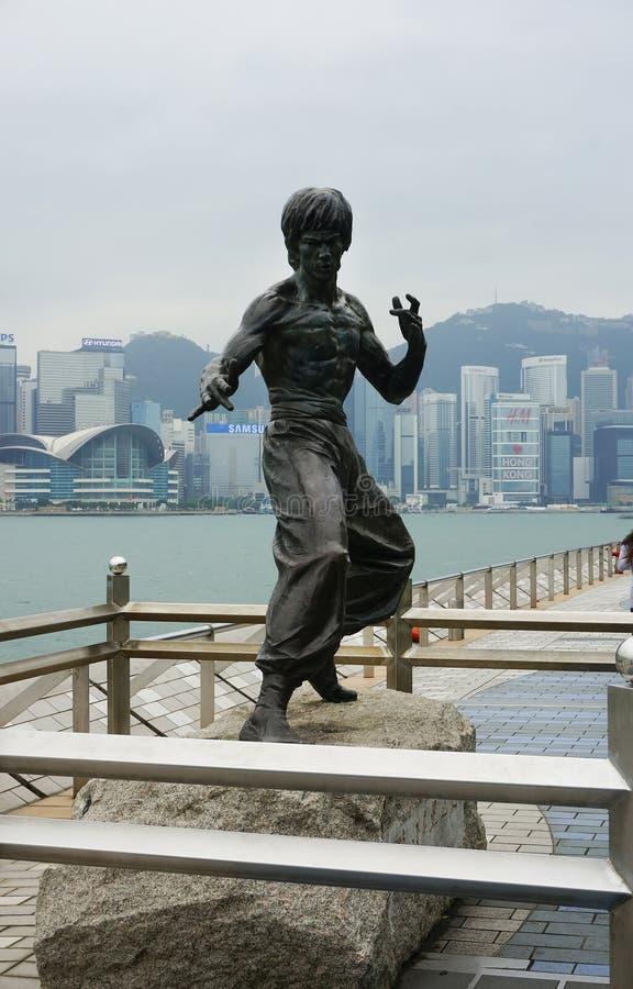 Άγαλμα του Bruce Lee στη λεωφόρο των αστεριών στο Χονγκ Κονγκ στοκ εικόνες