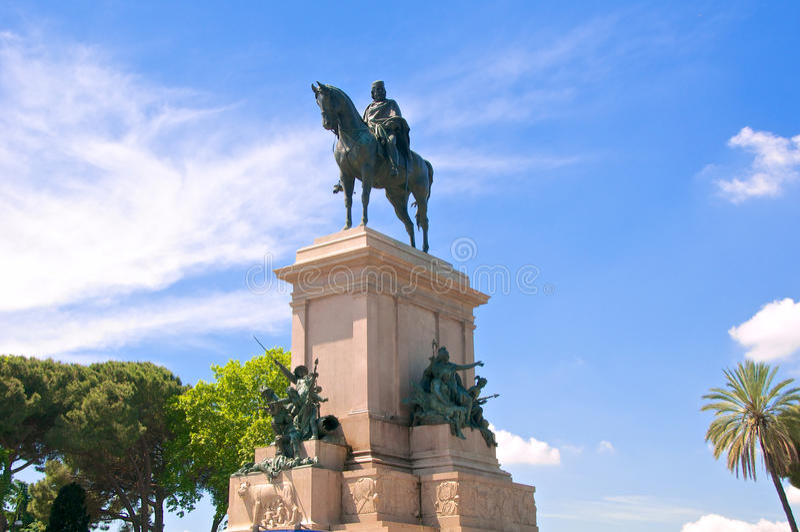 Άγαλμα του Giuseppe Garibaldi, Gianicolo, Ρώμη, Ιταλία στοκ φωτογραφία