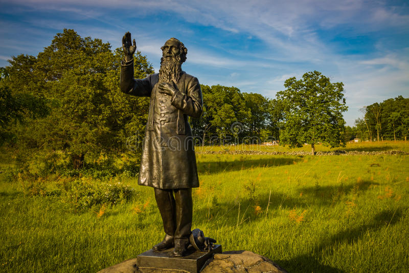 Άγαλμα του William Corby πατέρων στο πεδίο μάχη στοκ εικόνες