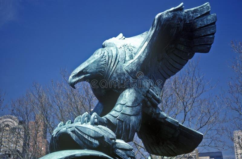 Άγαλμα χαλκού του αμερικανικού φαλακρού αετού, Νέα Υόρκη, Νέα Υόρκη στοκ φωτογραφία