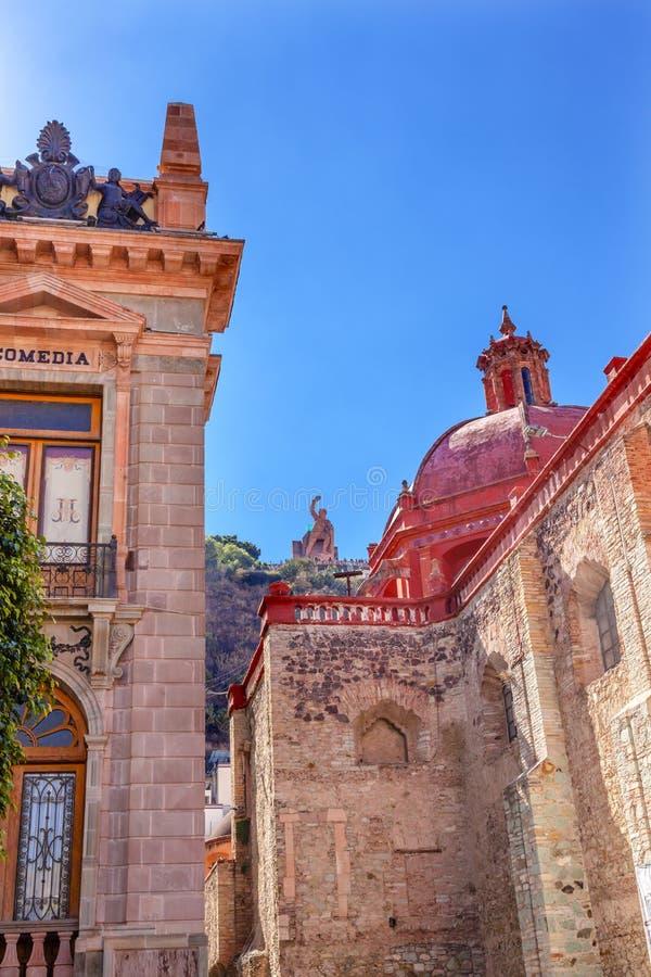Άγαλμα Guanajuato Μεξικό EL Pipila εκκλησιών του Σαν Ντιέγκο θεάτρων στοκ φωτογραφία