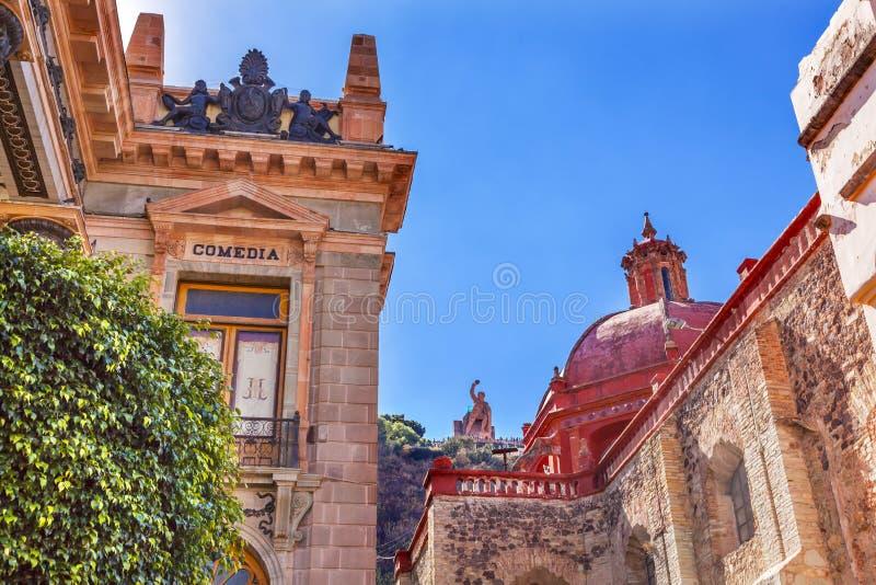Άγαλμα Guanajuato Μεξικό EL Pipila εκκλησιών του Σαν Ντιέγκο θεάτρων στοκ εικόνες