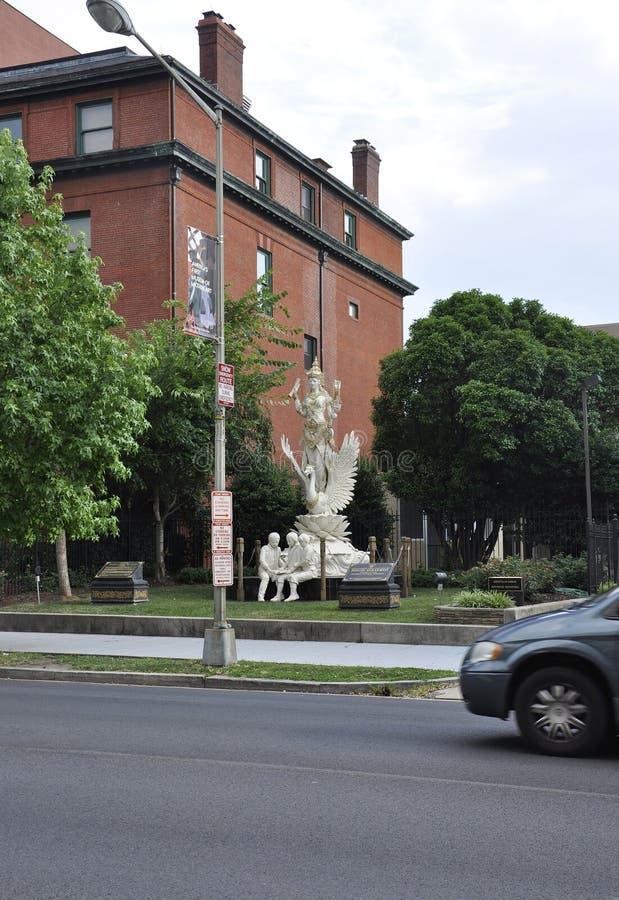 Άγαλμα Wellcome Godness Saraswati Hindus από τη Περιοχή της Κολούμπια ΗΠΑ της Ουάσιγκτον στοκ φωτογραφία με δικαίωμα ελεύθερης χρήσης
