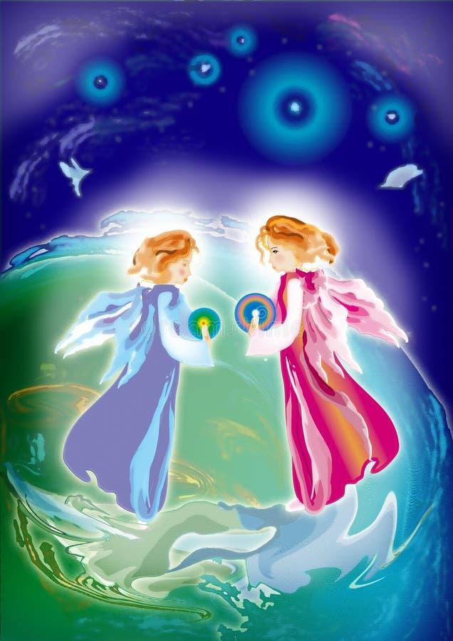 άγγελοι δύο διανυσματική απεικόνιση