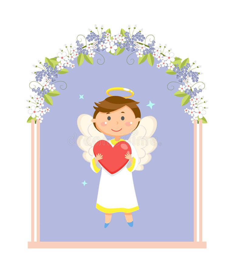 Άγγελος αγοριών στην αψίδα γαμήλιων λουλουδιών, ημέρα βαλεντίνων ελεύθερη απεικόνιση δικαιώματος