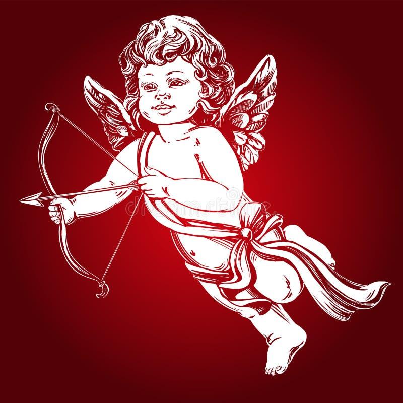 Άγγελος, λίγο μωρό Το Cupid πυροβολεί ένα τόξο με ένα βέλος, ημέρα βαλεντίνων ` s, συρμένη χέρι διανυσματική απεικόνιση ευχετήριω διανυσματική απεικόνιση
