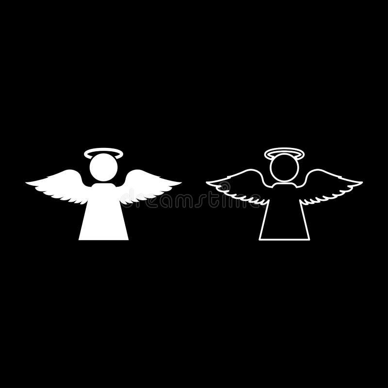 Άγγελος με μυγών φτερών εικονιδίων περιλήψεων την καθορισμένη άσπρη χρώματος διανυσματική εικόνα ύφους απεικόνισης επίπεδη απεικόνιση αποθεμάτων