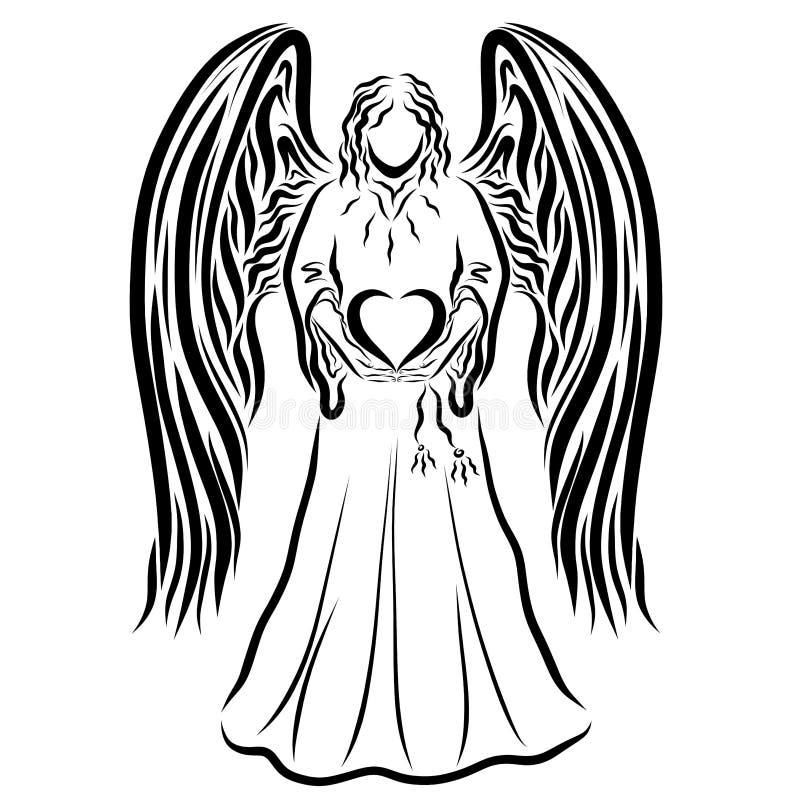 Άγγελος που κρατά μια καρδιά στα χέρια του, μαύρο σχέδιο ελεύθερη απεικόνιση δικαιώματος