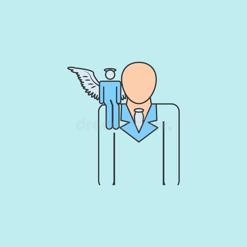 άγγελος στο εικονίδιο ώμων Στοιχείο του αγγέλου και του εικονιδίου δαιμόνων για την κινητούς έννοια και τον Ιστό apps Γεμισμένος  ελεύθερη απεικόνιση δικαιώματος
