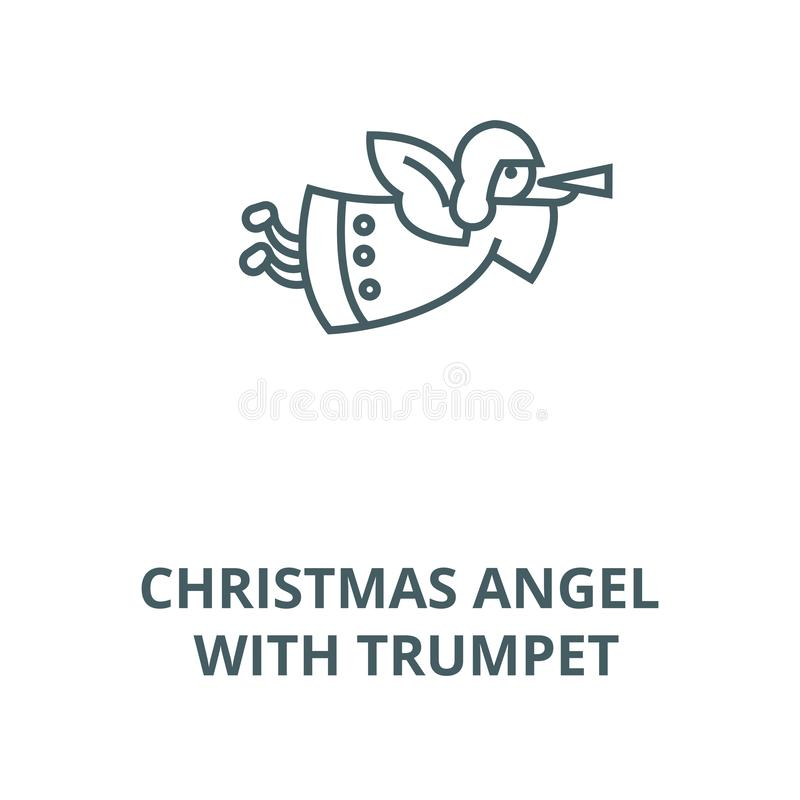 Άγγελος Χριστουγέννων με το εικονίδιο γραμμών σαλπίγγων, διάνυσμα Άγγ διανυσματική απεικόνιση