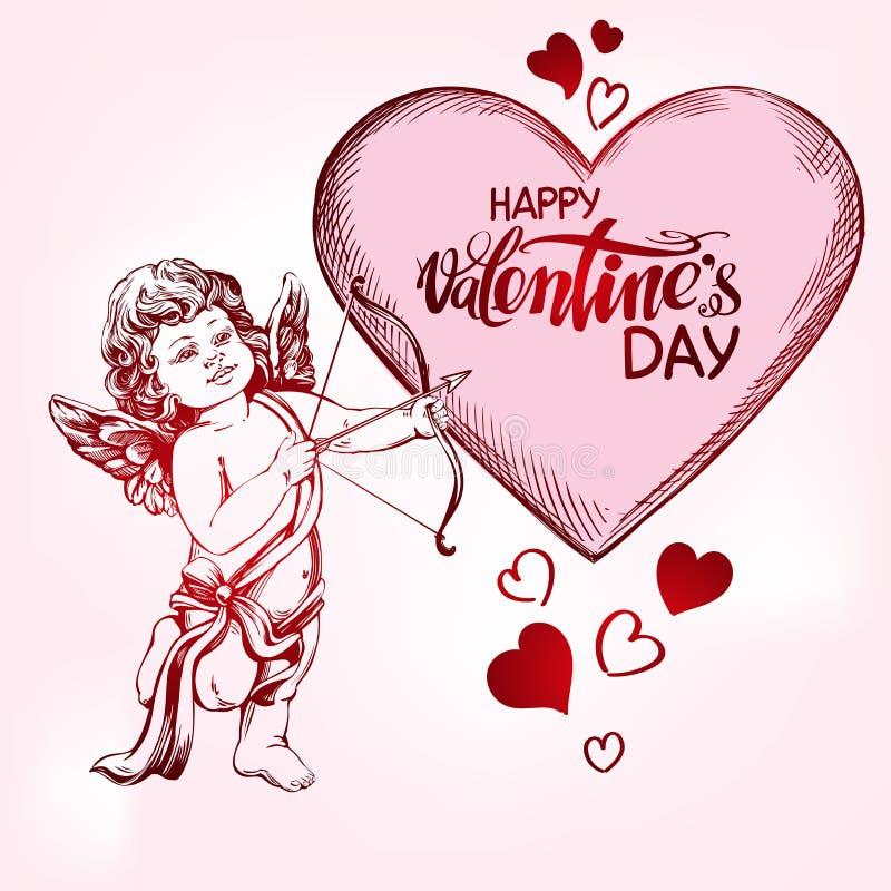 Άγγελος, amyr λίγο μωρό Το Cupid πυροβολεί ένα τόξο με ένα βέλος στην καρδιά, αγάπη, ημέρα βαλεντίνων s, χέρι ευχετήριων καρτών π ελεύθερη απεικόνιση δικαιώματος