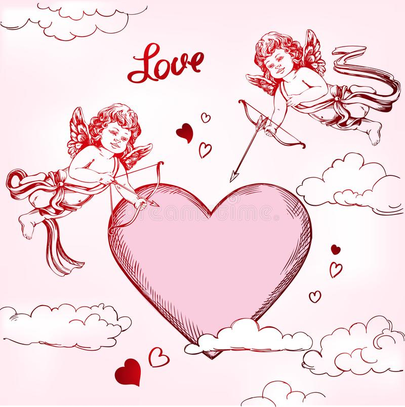 Άγγελος, amyr λίγο σύνολο μωρών Το Cupid πυροβολεί ένα τόξο με ένα βέλος στην καρδιά, αγάπη, ημέρα βαλεντίνων s, χέρι ευχετήριων  απεικόνιση αποθεμάτων