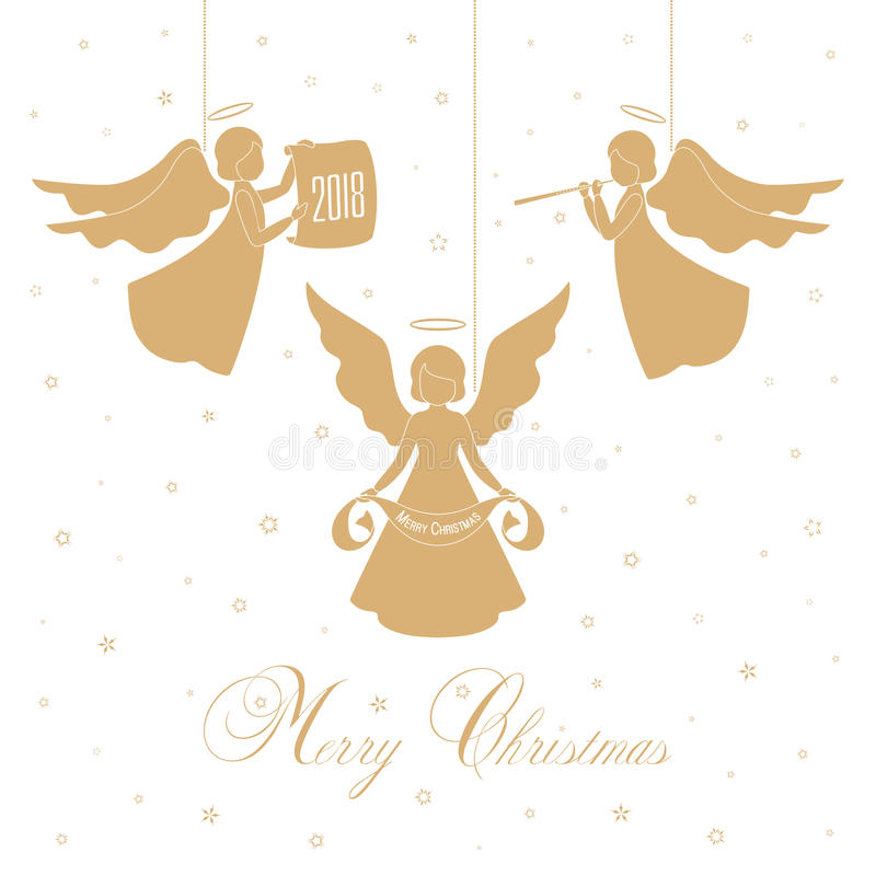 Άγγελοι και αστέρια Χριστουγέννων διανυσματική απεικόνιση