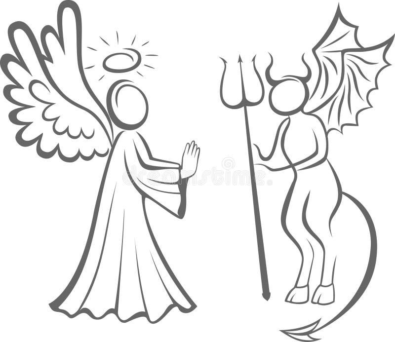 Άγγελος και διάβολος Αγαθό ενάντια στο κακό λήψη απόφασης διανυσματική απεικόνιση