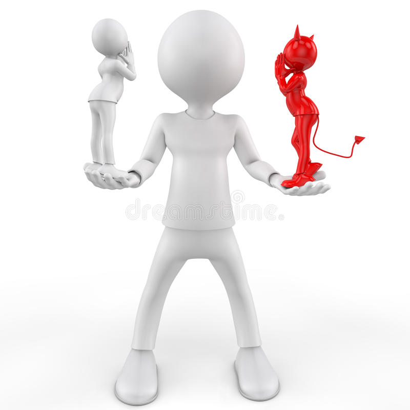 Άγγελος και διάβολος, ναι ή όχι. τρισδιάστατη εικόνα απεικόνιση αποθεμάτων
