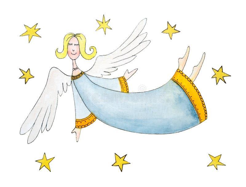 Άγγελος με τα αστέρια, childs σχέδιο, χρώμα watercolor διανυσματική απεικόνιση