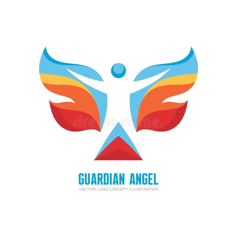 Άγγελος φυλάκων - διανυσματική απεικόνιση έννοιας προτύπων λογότυπων Ανθρώπινος χαρακτήρας με τα χρωματισμένα φτερά Σημάδι πεταλο ελεύθερη απεικόνιση δικαιώματος