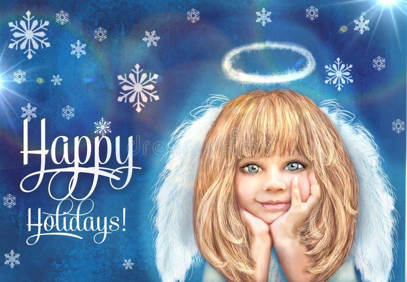 άγγελος χαριτωμένος λίγ& Ευτυχές χαμογελώντας κορίτσι αγγέλου με τα ξανθά μαλλιά και τα άσπρα φτερά που απομονώνονται σε ένα μπλε στοκ φωτογραφία με δικαίωμα ελεύθερης χρήσης